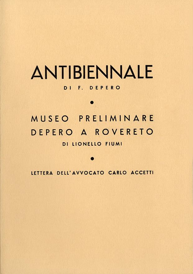 """Fortunato Depero, """"Antibiennale: requisitoria di Fortunato Depero: Venezia 1954"""", Tipografia Manfrini, Rovereto 1955"""