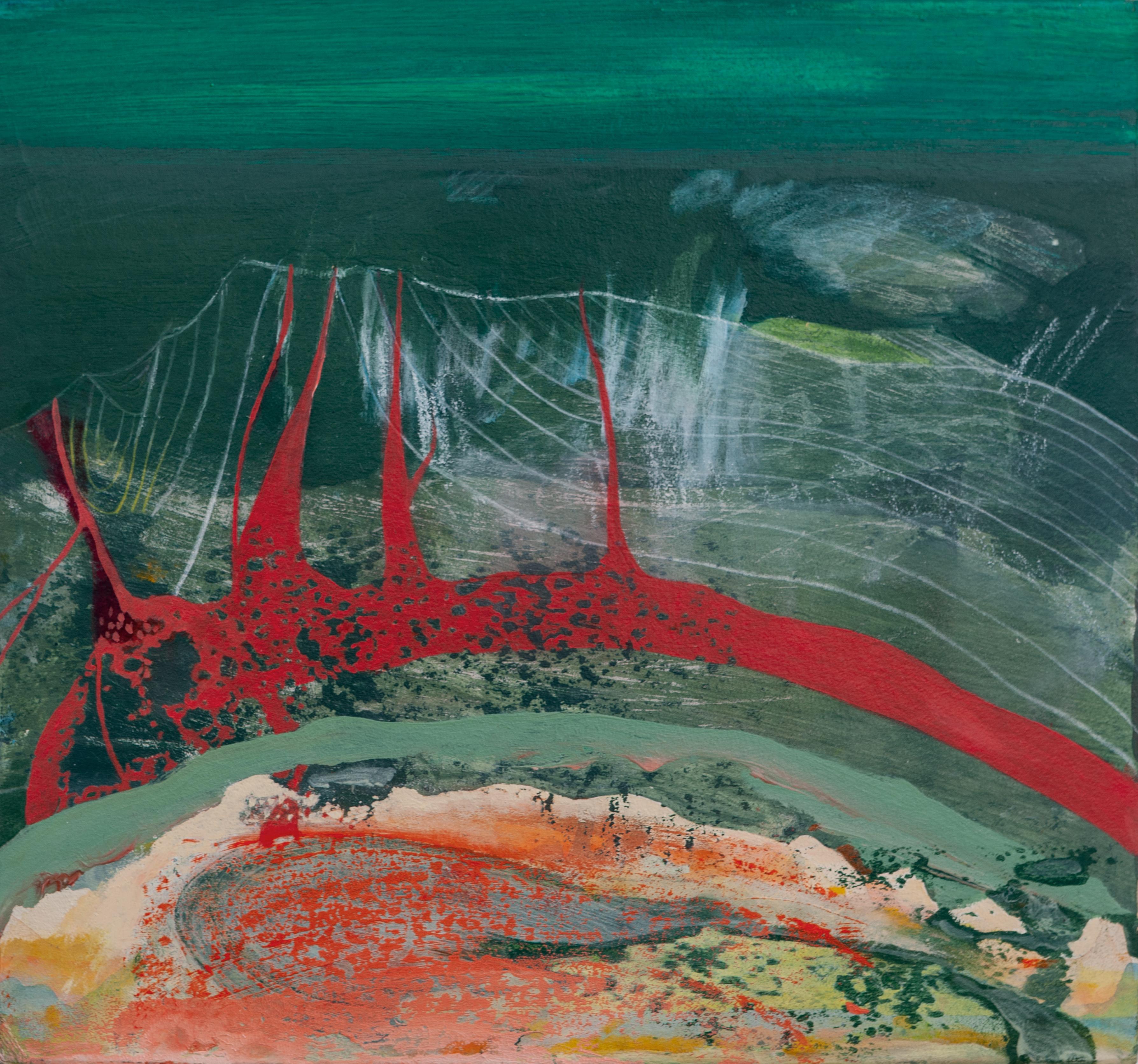 """""""Volcano"""" (dettaglio dell'opera), 2020, olio su cartonlegno, 30 x 32 cm, Courtesy l'artista e Moonens Foundation"""