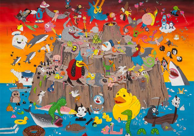 """Laurina Paperina, """"Riders of the Lost Heads"""", 2018, tecnica mista su tela, Courtesy Studio d'Arte Raffaelli"""