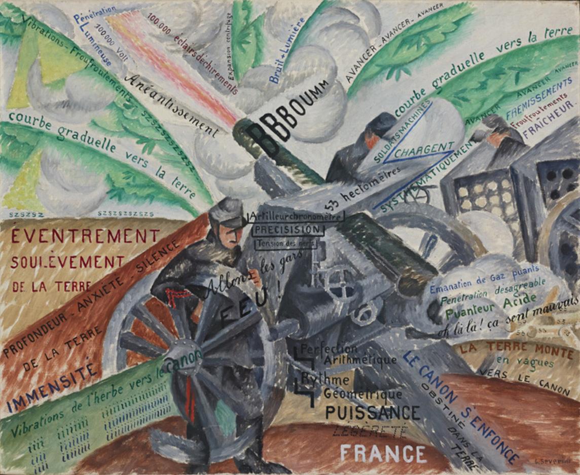 """Gino Severini, """"Cannoni in azione"""", 1915, olio su tela, Mart, Collezione VAF-Stiftung"""