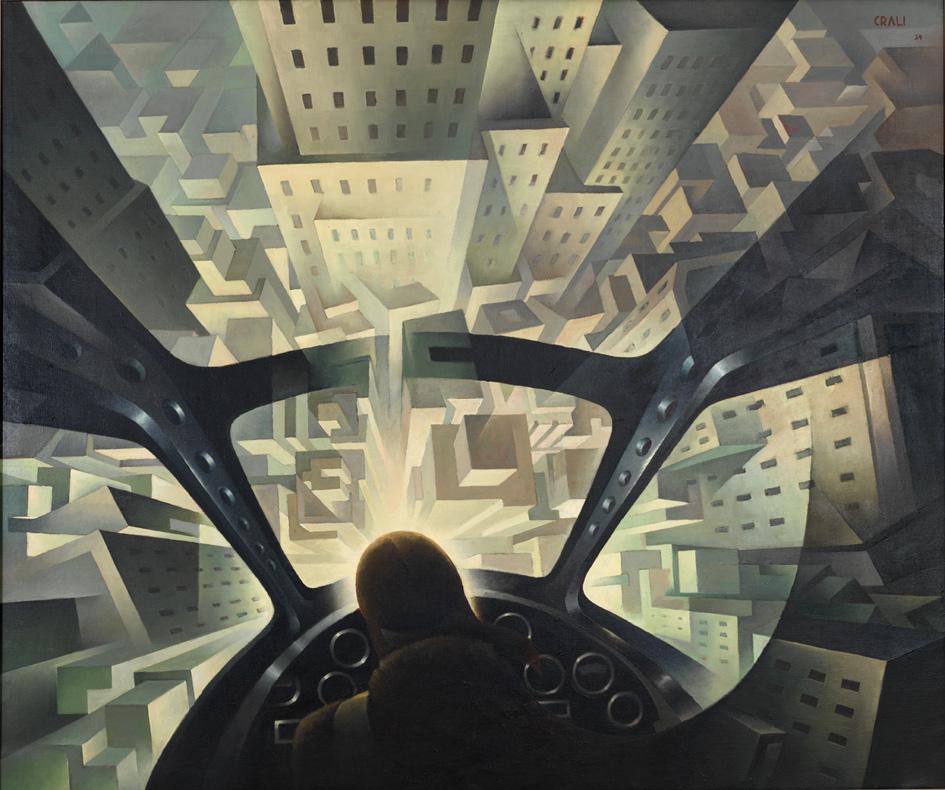 """Tullio Crali, """"Incuneandosi nell'abitato (In tuffo sulla città)"""", 1939"""