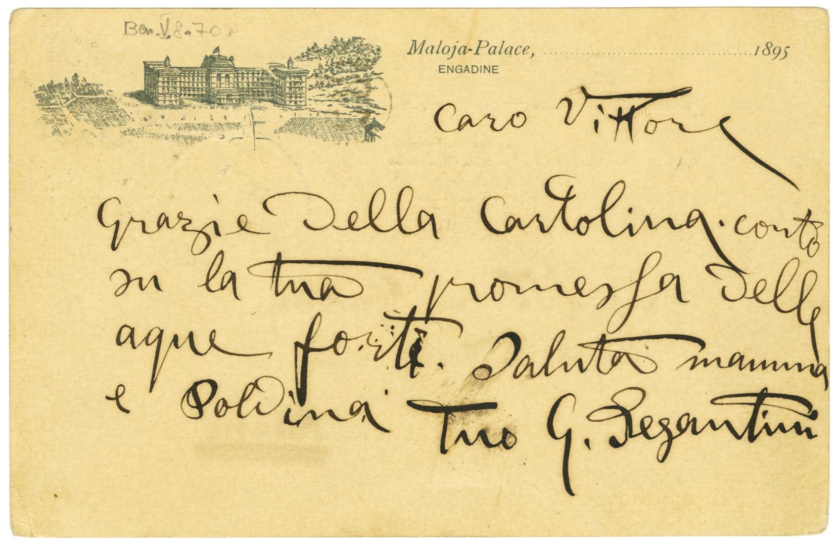 Cartolina di Giovanni Segantini a Vittore Grubicy, 1895 circa