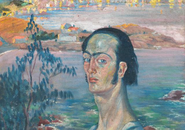 """Salvador Dalí , """"Autoritratto con collo raffaellesco"""", 1921 circa, Fundació Gala-Salvador Dalí, Figueres"""