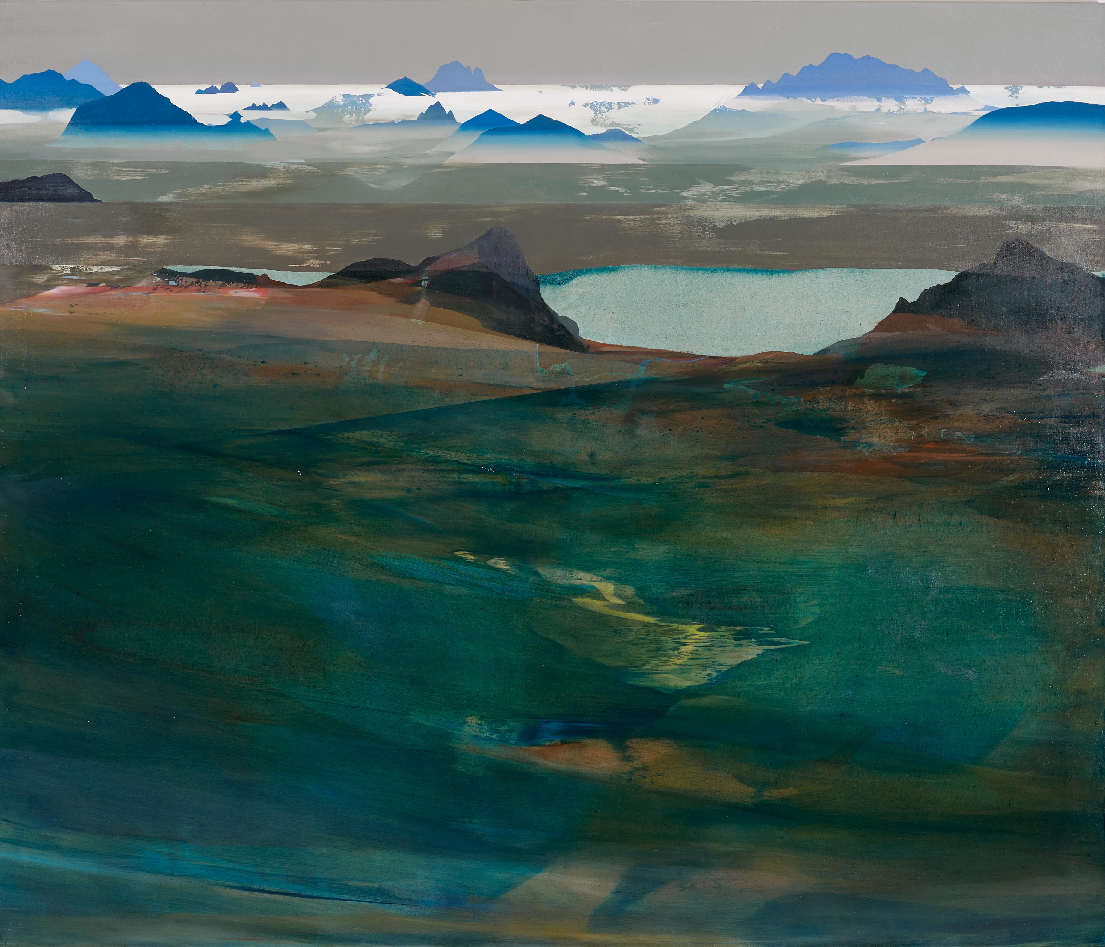 """""""Arcipelago fossile"""" (dettaglio dell'opera), 2017, acrilico e olio su tela, 170 x 200 cm, Collezione privata"""