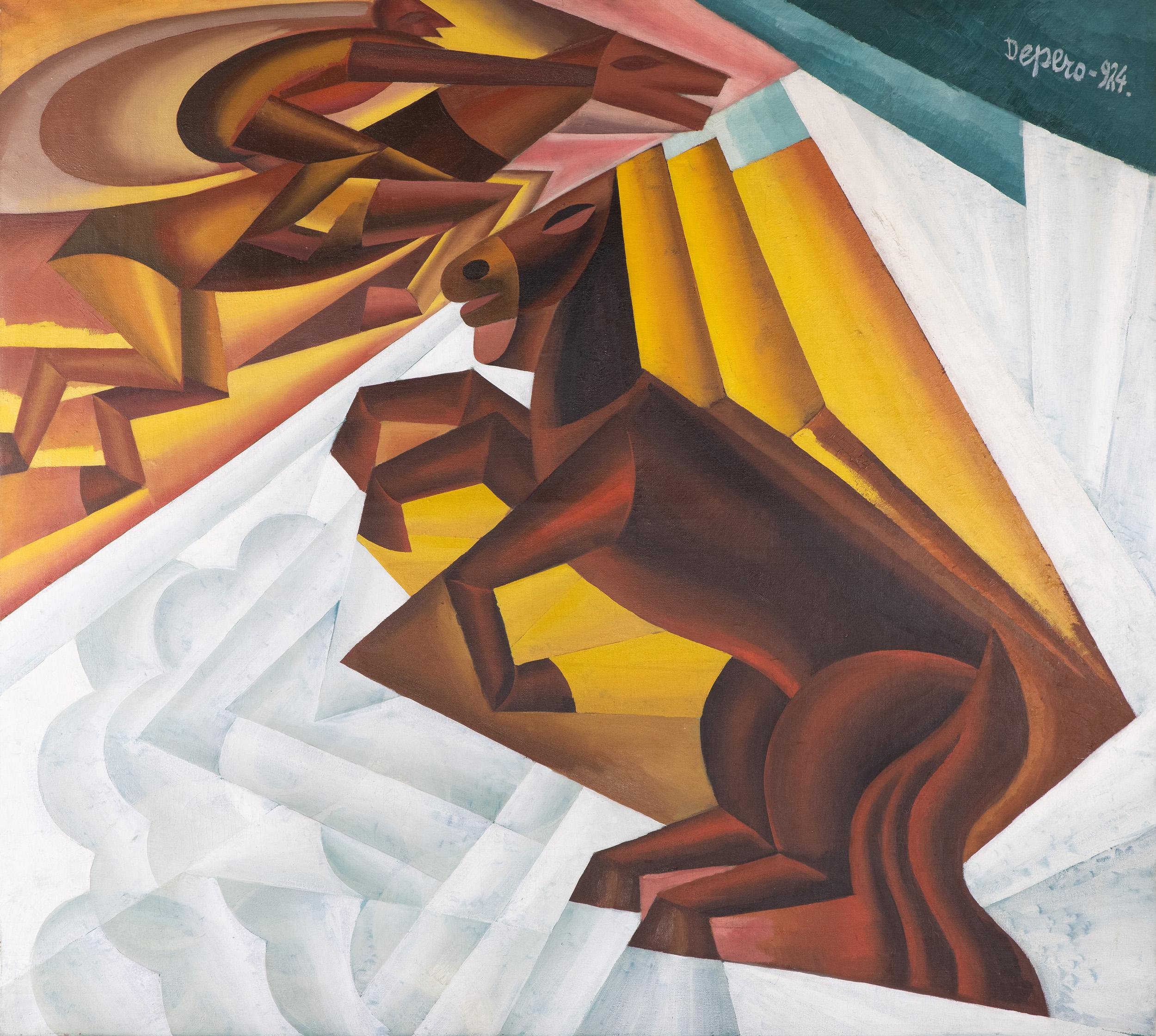 """Fortunato Depero, """"Gara ippica tra le nubi"""", 1924, olio su tela, Courtesy Archivio Depero"""