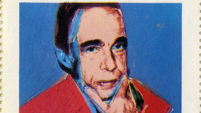 Guglielmo Achille Cavellini ritratto da Andy Warhol in un francobollo d'artista, anni Ottanta del Novecento, Mart, Archivio del '900, Carte Cavellini