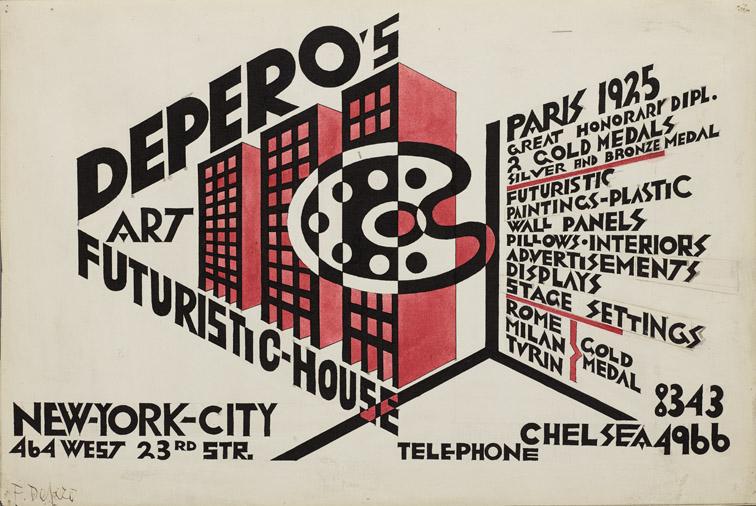 """Fortunato Depero, """"Bozzetto di locandina Depero's Futuristic-House"""", 1928-29"""