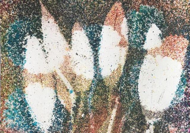 "Sam Falls, ""Untitled (Glendale, CA, studio garden, 8)"" (dettaglio), 2018, Courtesy Galleria Franco Noero, Torino and Galerie Eva Presenhuber, Zürich"