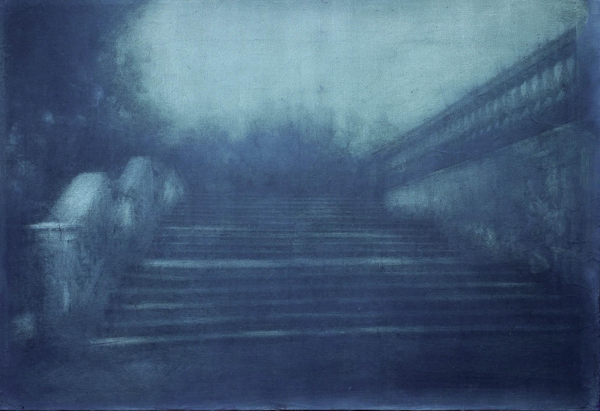 """""""Scriptorium – dove nasce un racconto"""", 2017, gelatina fotosensibile, grafite, olio su tela preparata, 90 x 130 cm, Collezione privata"""