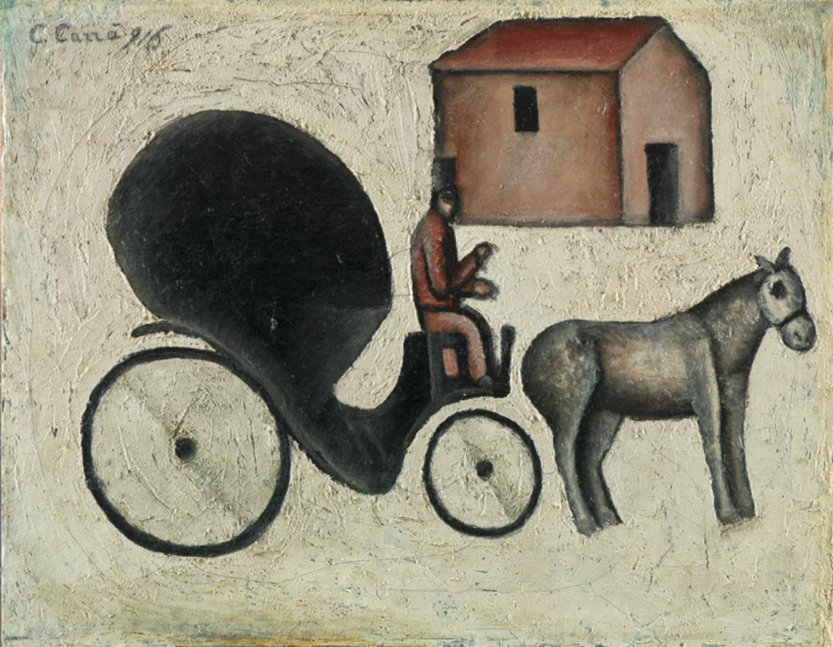 """Carlo Carrà, """"La carrozzella"""", 1916, olio su tela applicata su compensato, Mart, Collezione VAF-Stiftung"""