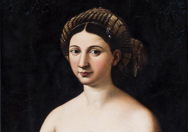 """Raffaellino del Colle (attribuito), """"La Fornarina Borghese"""" (copia da Raffaello Sanzio) (dettaglio), 1530 circa, Galleria Borghese, Roma"""