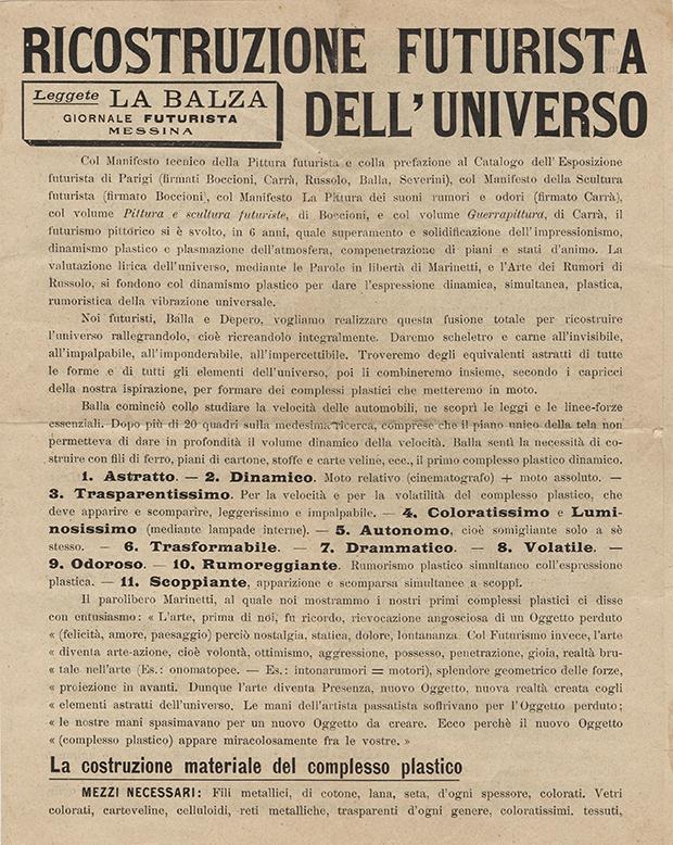 """Giacomo Balla, Fortunato Depero, """"Ricostruzione futurista dell'universo"""", Direzione del Movimento Futurista, Milano 1915"""