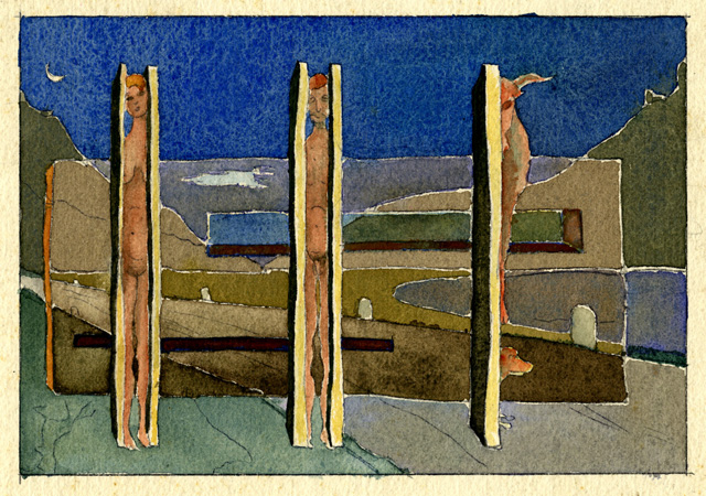 "Mario Radice, ""Crollo"", 1939-1942, acquerello su carta, 19,3 x 25 cm, Mart, Archivio del ′900, fondo Mario Radice"