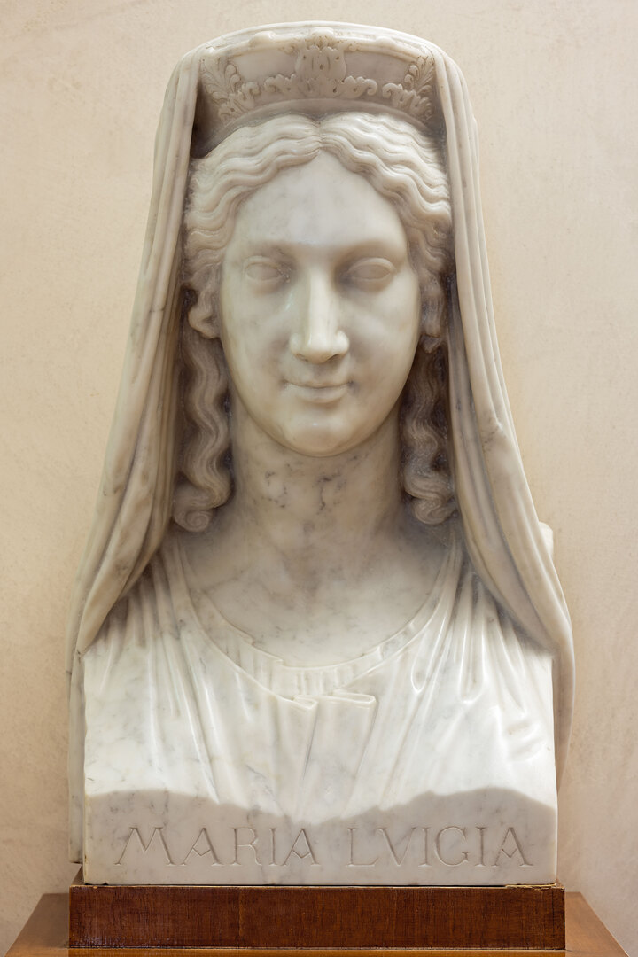 """Alceo Dossena, """"Erma di Maria Luigia d'Asburgo"""" (da Antonio Canova), 1912-1915 c., marmo, Museo Glauco Lombardi"""
