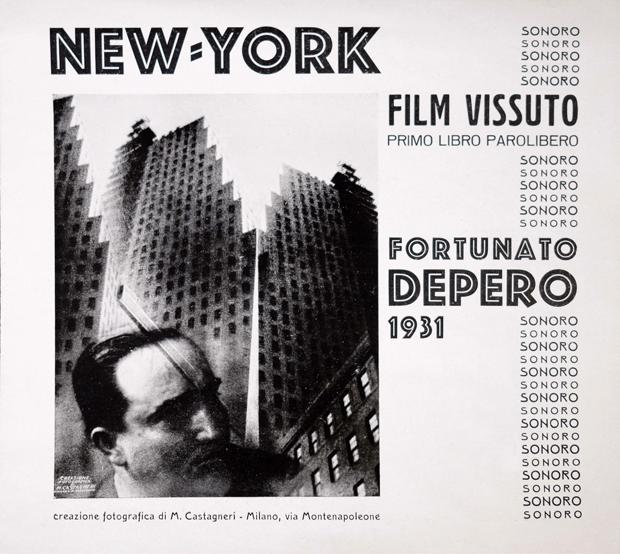 """Fortunato Depero, Mario Castagneri, """"New York: Film vissuto: Primo libro parolibero sonoro"""", 1931"""