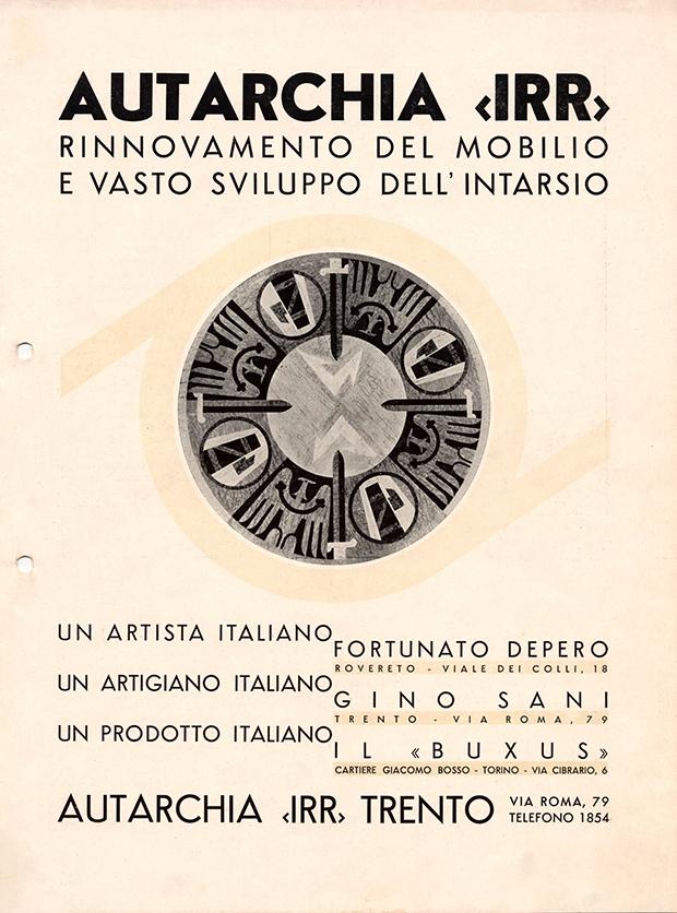 """Fortunato Depero, Riccardo Sani (ditta), """"Autarchia IRR: rinnovamento del mobilio e vasto sviluppo dell'intarsio"""", Autarchia IRR, Trento 1939"""