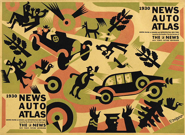 "Fortunato Depero, ""News auto atlas: United States & Canada and metropolitan New York"", The News, New York 1930"