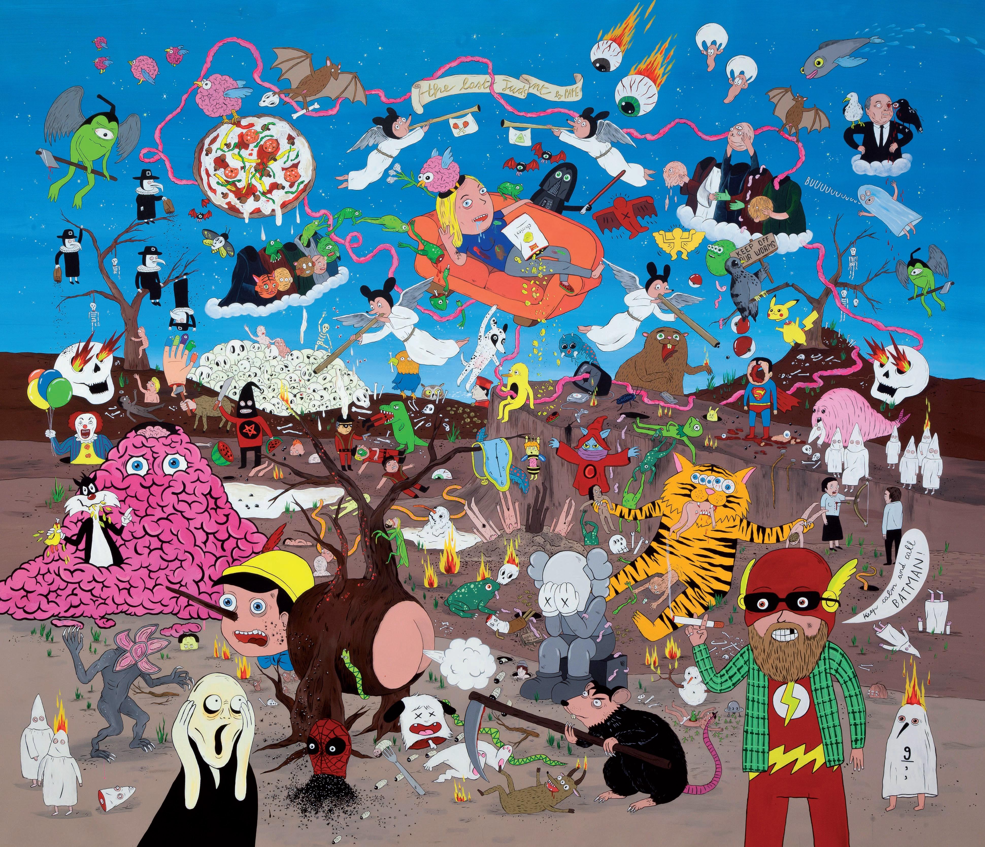 """""""The Last Judgment"""" (dettaglio dell'opera), 2017-2018, tecnica mista su tela, 196 x 227 cm, Courtesy Studio d'Arte Raffaelli"""