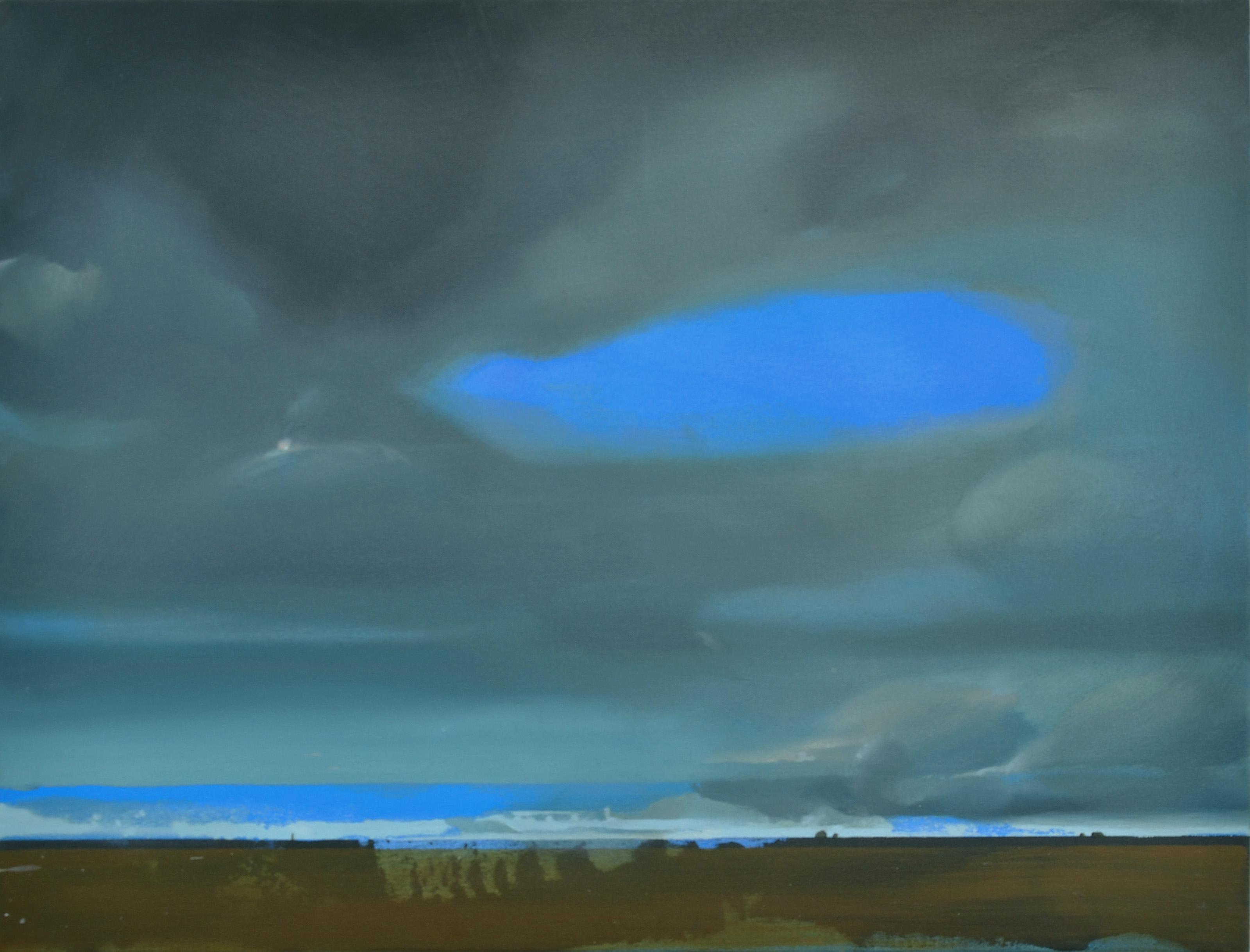 """""""Cumulonimbus"""" (dettaglio dell'opera), 2017, acrilico e olio su tela, 60 x 80 cm, Courtesy l'artista"""