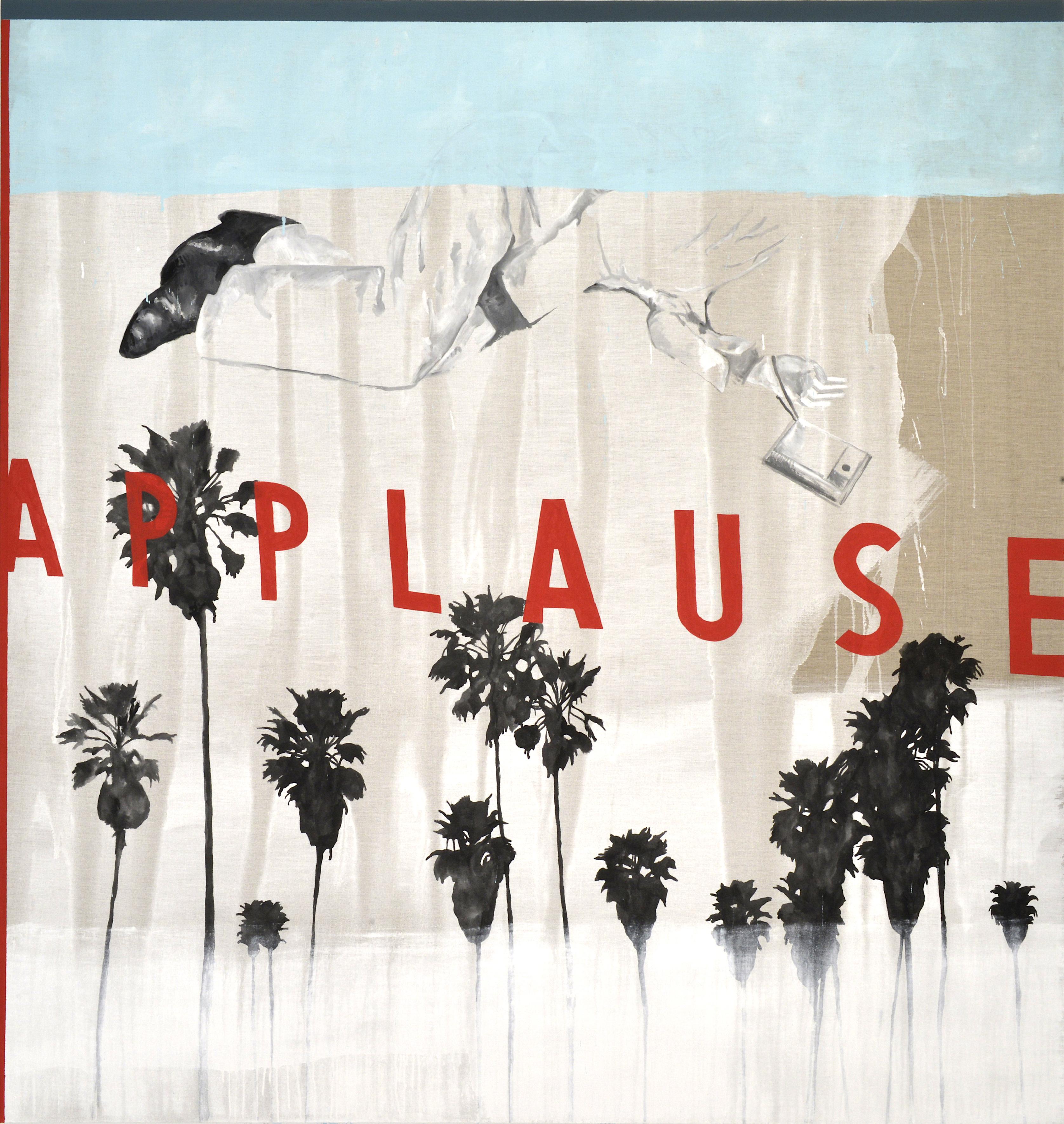 """""""Applause"""" (dettaglio dell'opera), 2018, tecnica mista su lino, 190 x 180 cm, Courtesy l'artista"""