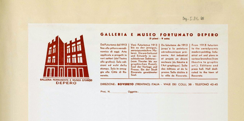 """Carta intestata """"Galleria e Museo Fortunato Depero"""", 1957 Mart, Archivio del '900, Fondo Depero"""