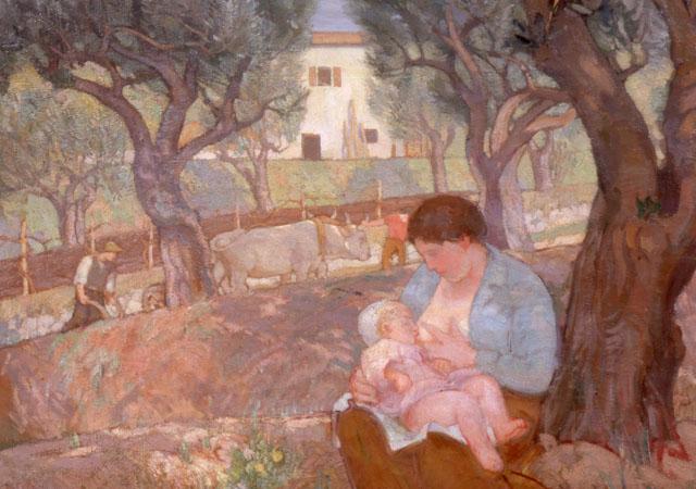 """Umberto Moggioli, """"Primavera nel veronese"""" (dettaglio), (1916), olio su tela, Galleria Nazionale d'Arte Moderna e Contemporanea, Roma"""