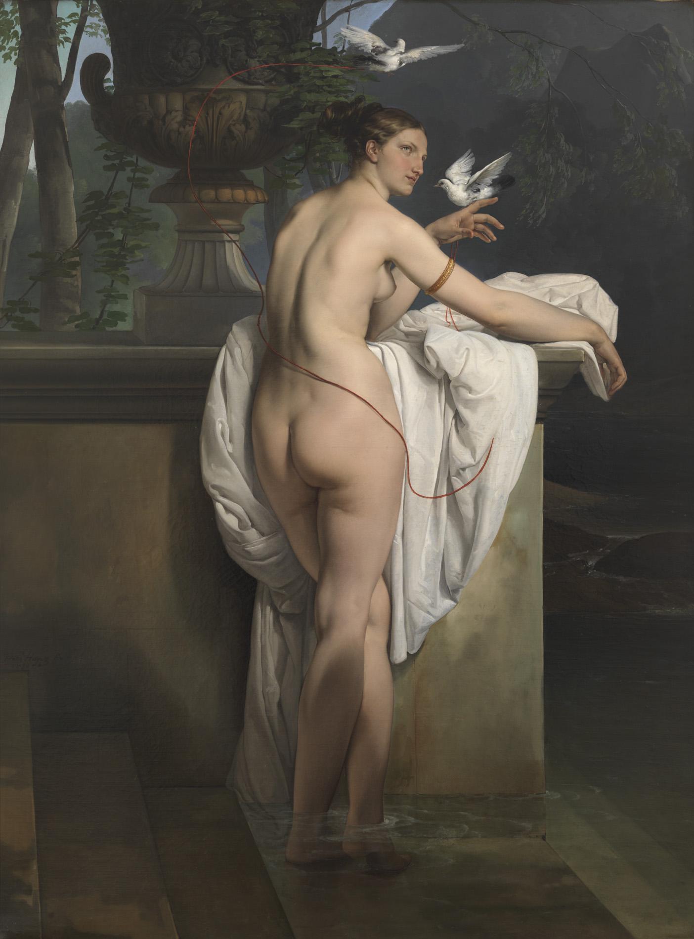 """Francesco Hayez, """"Venere che scherza con due colombe (Ritratto della ballerina Carlotta Chabert)"""", 1830"""