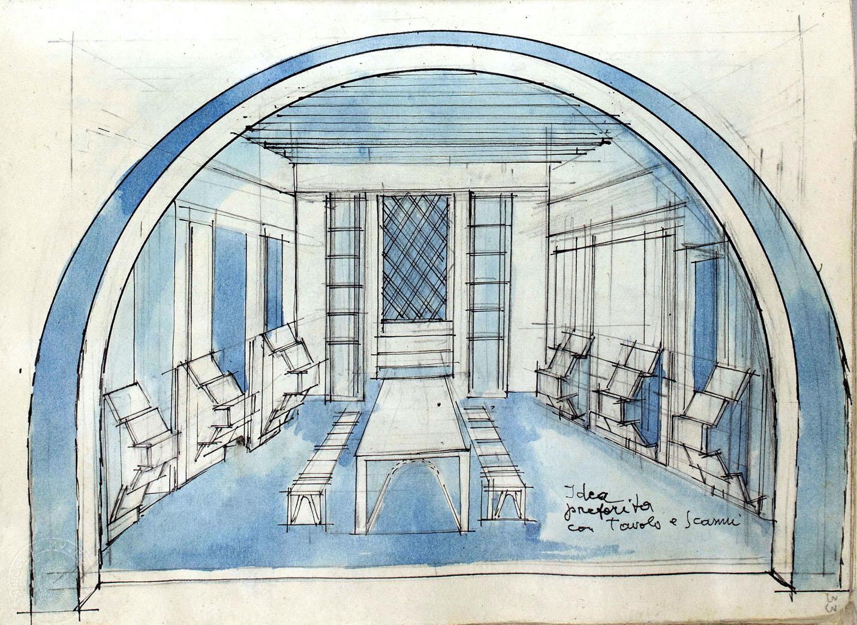 Schizzi di arredamento, decorazioni e allestimenti per il progetto del Museo Depero