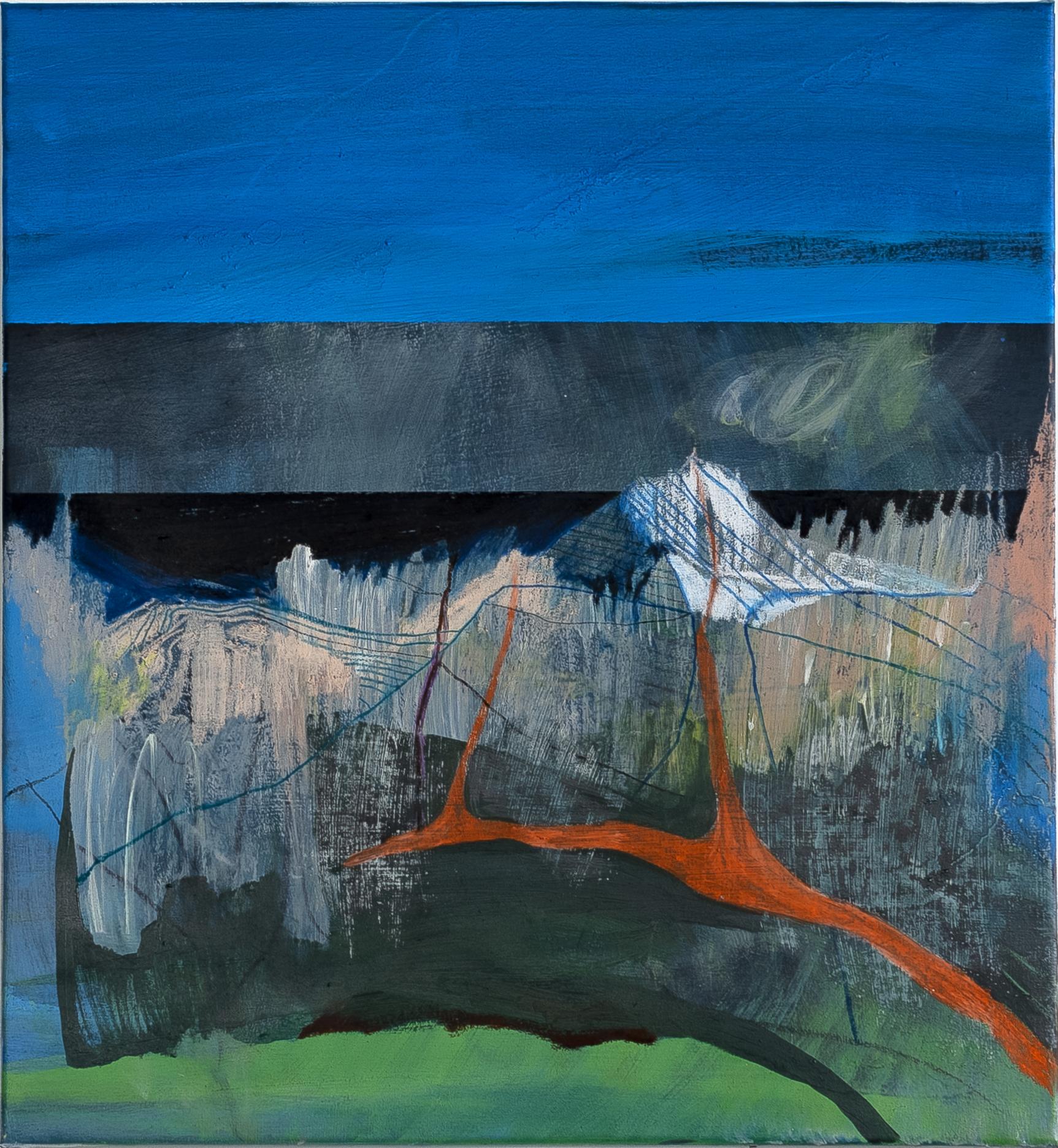 """""""A still volcano life"""" (dettaglio dell'opera), 2019, acrilico e olio su tela, 70 x 65 cm, Courtesy l'artista e Boccanera Gallery Trento"""