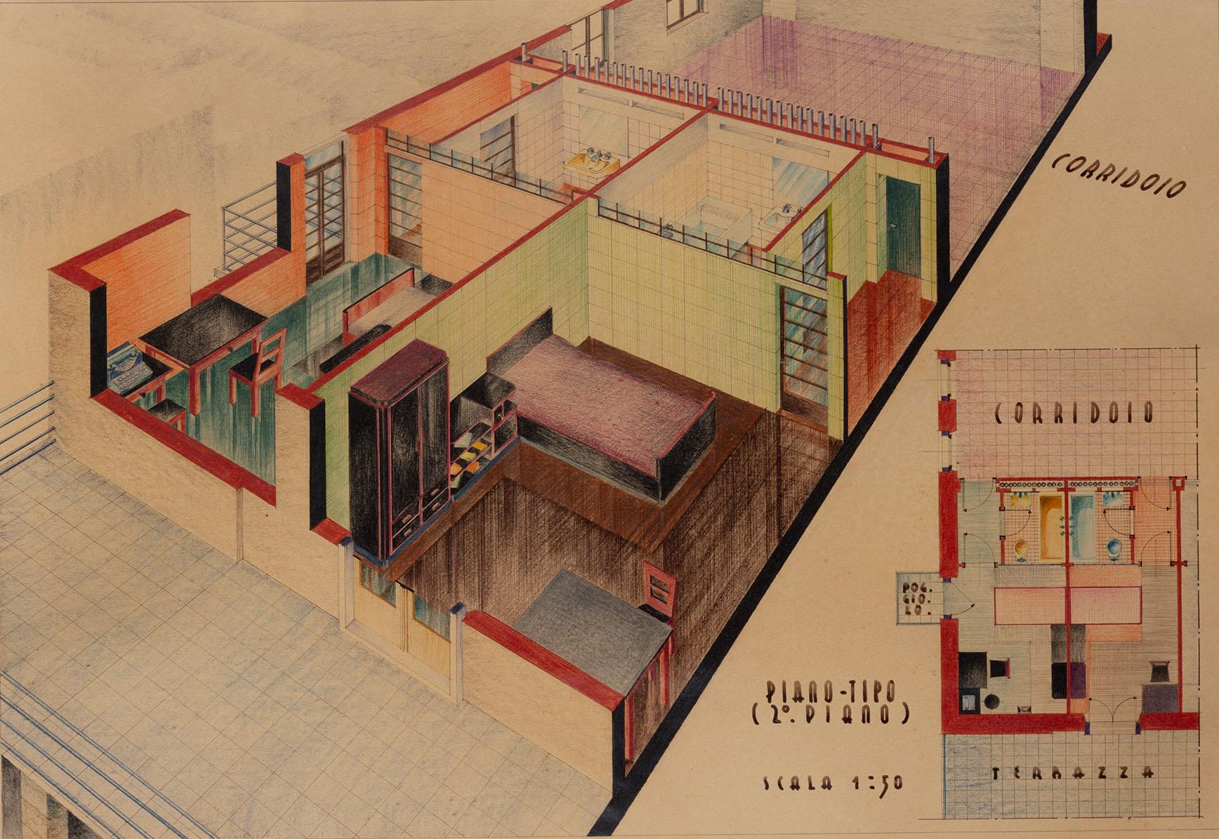 Progetto di Giovanni Lorenzi per un albergo a Trento, 1935-1936