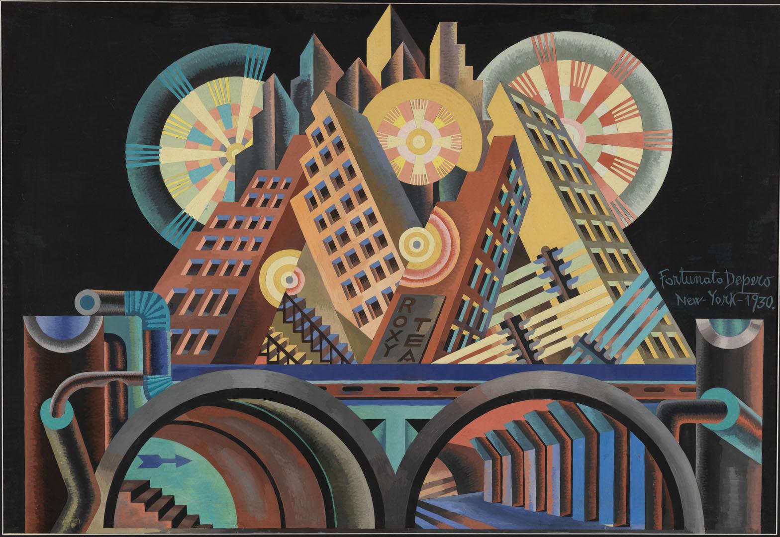 """Fortunato Depero, """"Grattacieli e tunnel"""", 1930, Mart, Fondo Depero"""