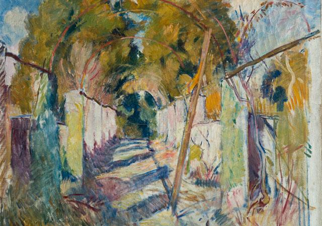"""Umberto Moggioli, """"Viale a Villa Strohl-Fern"""" (dettaglio), (1918-1919), olio su tela, Mart, Provincia autonoma di Trento - Soprintendenza per i beni culturali - donazione eredi Francesco Moggioli"""