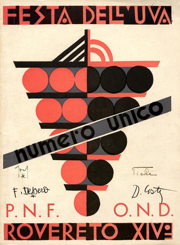 """Fortunato Depero, """"Festa dell'uva: Rovereto XIV: numero unico"""", Tipografia Manfrini, Rovereto 1936"""