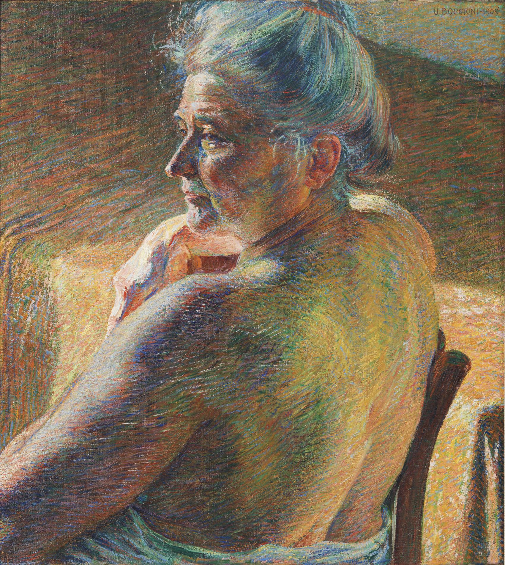 """Umberto Boccioni, """"Nudo di spalle (Controluce)"""", 1909"""