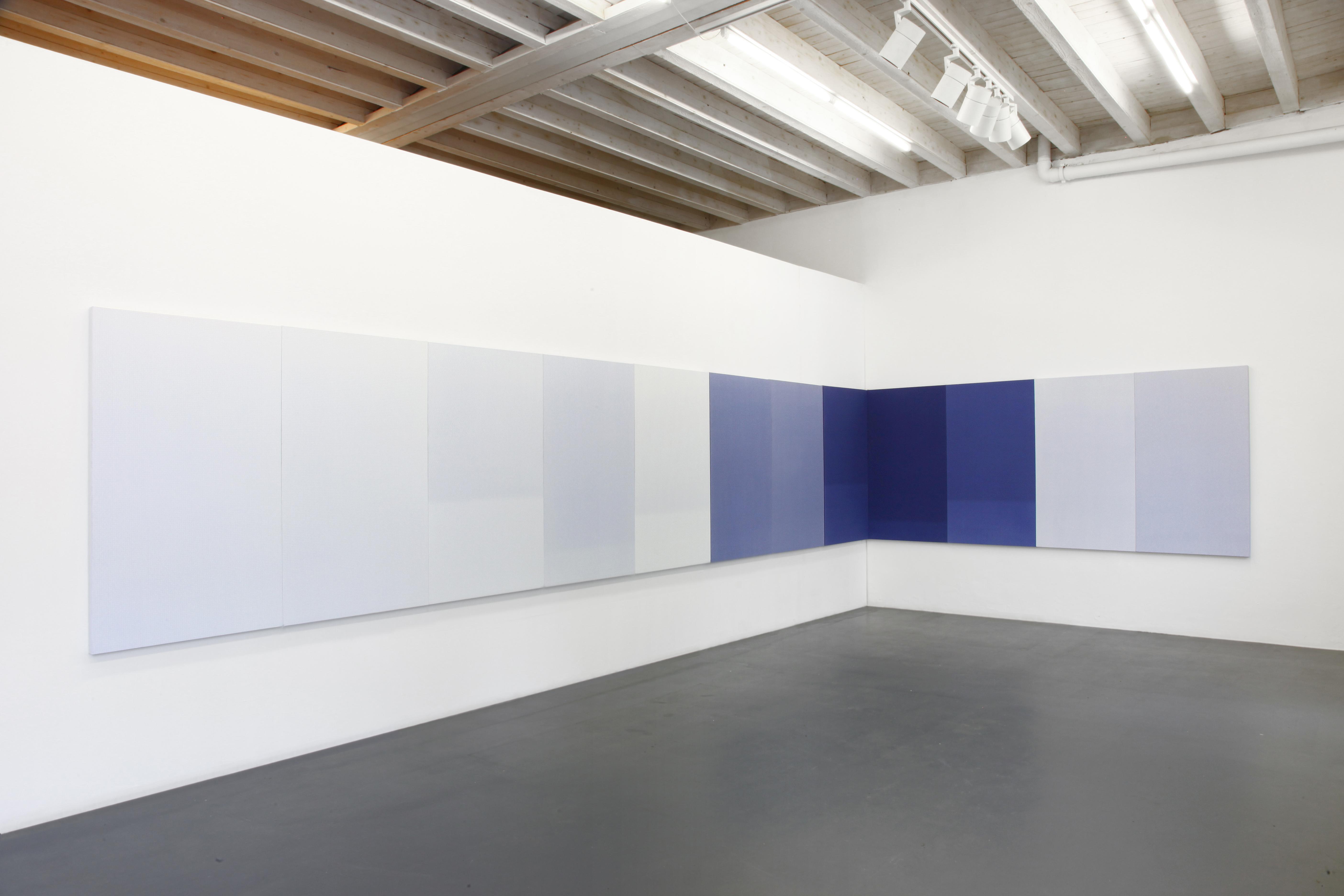 """""""Square"""", 2017, tecnica mista su tela, 140 x 960 cm, Courtesy Maurizio Caldirola Arte Contemporanea, Monza"""