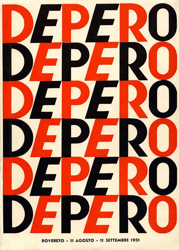 """Fortunato Depero, """"88a mostra Depero: pittura e arte applicata 1915-1951: prima presentazione di pittura nucleare"""", 1951"""