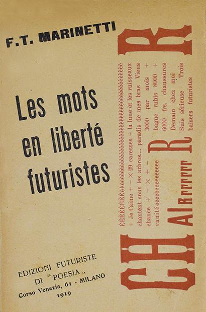 """Filippo Tommaso Marinetti, """"Les mots en liberté futuristes"""", Edizioni futuriste di """"Poesia"""", Milano 1919"""