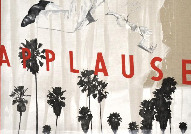 """Luca Coser, """"Applause"""" (dettaglio), 2018, tecnica mista su lino, Courtesy l'artista"""