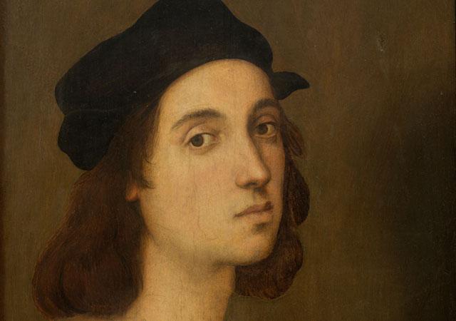 """Raffaello Sanzio, """"Autoritratto"""" (dettaglio), 1505-1506, Gallerie degli Uffizi, Galleria delle Statue e delle Pitture, Firenze"""