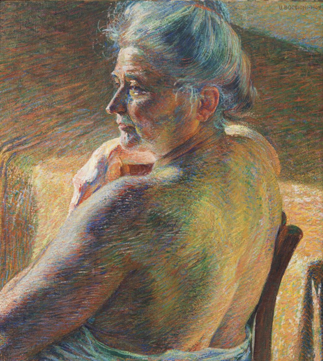"""Umberto Boccioni, """"Nudo di spalle (Controluce)"""", 1909, olio su tela, Mart, Collezione L.F"""